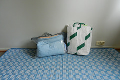 Myydään: Mattress, pillow and duvet; survivor kit
