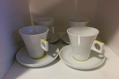 Myydään: A set of coffee cups with plates