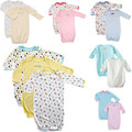 Wholesale Lots: (80) NEWBORN INFANT PATTERNED LONG SLEEVES BABY GOWN CLOTHES