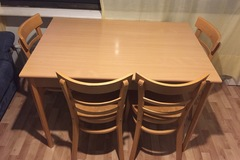 Myydään: Table and four chairs