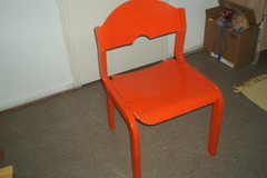 Myydään: Unusual sturdy wooden chair, painted bright red